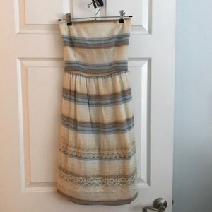Anthropologie Strapless Striped Summer Dress